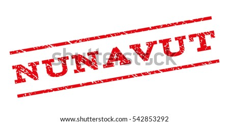 Nunavut watermark stamp. Text caption between parallel lines with grunge design style. Rubber seal stamp with unclean texture. Vector red color ink imprint on a white background.