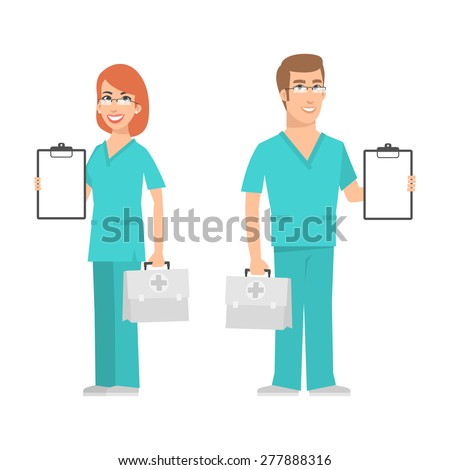 Nurse and doctor holding suitcase and smiling - stock vector