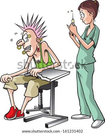 Nurse and Pierce. A cartoon of a nurse about to give a shot to a scared adult male. Layered vector file. - stock vector