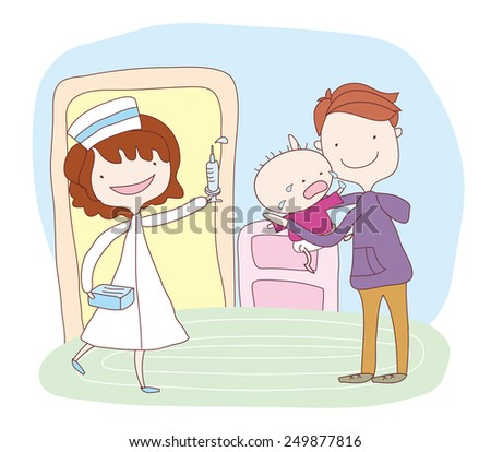 Nurse give baby an injection. Father hold baby in hospital - stock vector