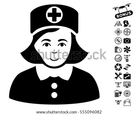 Nurse Icon Bonus Aircopter Tools Pictures Stock Vector 555096082