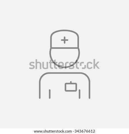 Nurse line icon for web, mobile and infographics. Vector dark grey icon isolated on light grey background. - stock vector