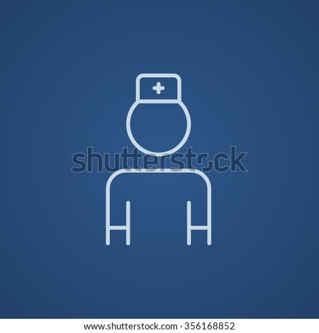 Nurse line icon for web, mobile and infographics. Vector light blue icon isolated on blue background. - stock vector