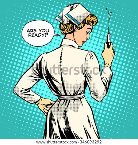 Nurse makes a shot vaccination pop art retro style. Medicine and health. Doctor treatment profession the patient - stock vector