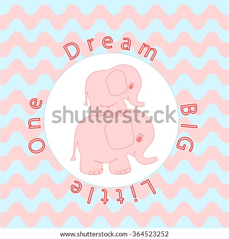 Nursery room wall decoration Baby poster Mother and baby animals, Cartoon baby elephant on Wavy stripes background in pink and blue for Baby shower invitation, greeting card, t-shirt prints, wallpaper - stock vector