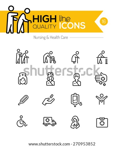 Nursing and healthcare line icons series - stock vector