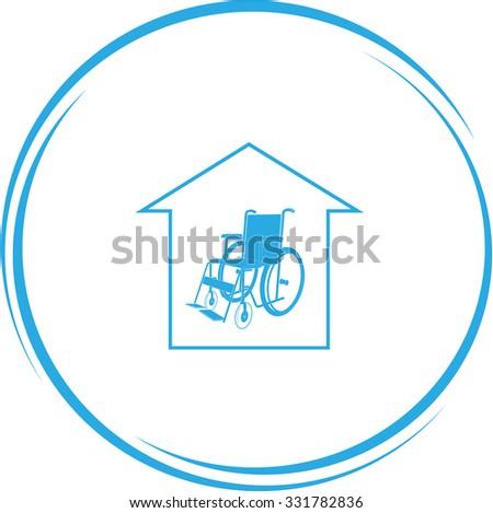 nursing home. Internet button. Vector icon. - stock vector