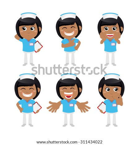 Nursing staff in different poses - stock vector