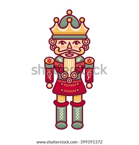 Nutcracker. Merry Christmas balls. Season decoration. New year template. Festive texture. Winter decorate. Vector illustration on white background.  - stock vector