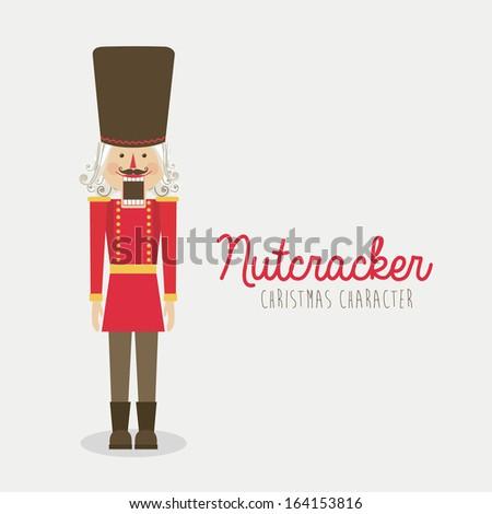 nutcracker toy over white background vector illustration - stock vector
