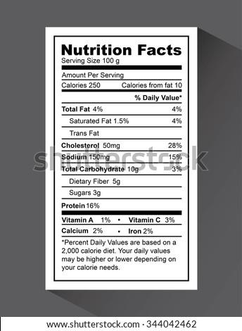 nutrition fact design, vector illustration eps10 graphic  - stock vector