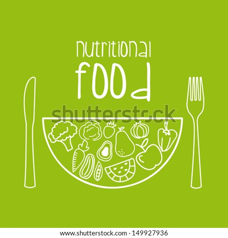 nutritional food over green background vector illustration  - stock vector