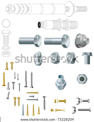 Nuts and bolts and wood screws, steel and brass - stock vector