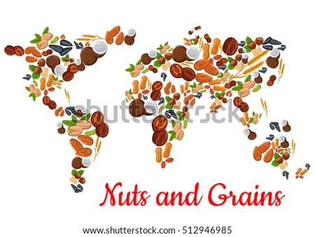 Nuts grains world map vector nut stock vector 512946985 shutterstock nuts and grains world map vector nut grain kernels coconut almond gumiabroncs Image collections