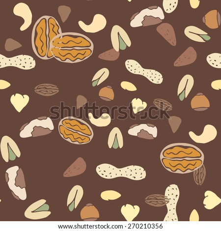 Nuts collection print seamless pattern. Vector nut set. Tileable background for fabric and texture