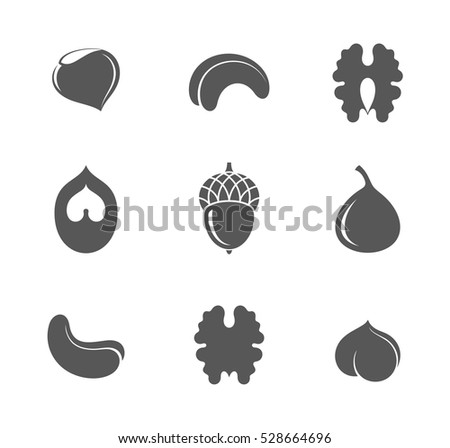 Nuts. Icon set. Isolated nuts on white background