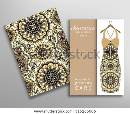nvitations or Cards with fashion collection, floral seamless texture and women's dress on a hanger. Geometric and floral pattern, vector illustration - stock vector