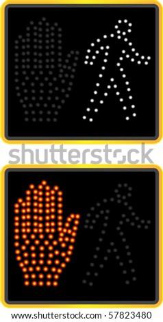 NYC crosswalk signal - stock vector
