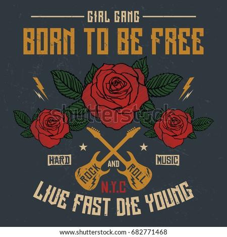 Nyc Girl Gang Embroidery Rose Slogan Stock Vector Royalty Free