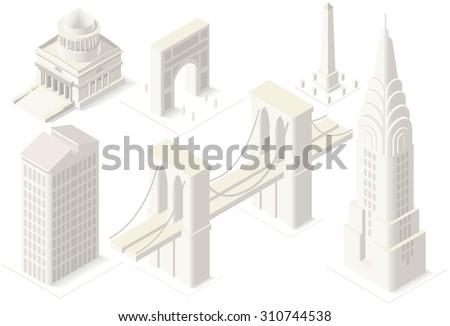 Marvelous NYC Landmarks Building Isometric 3D Flat Landmark New York Manhattan Bridge  Brooklyn Usa Chrysler Buildings Map