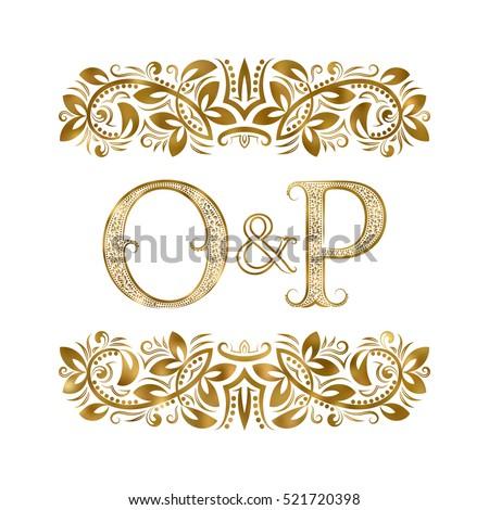 O P Vintage Initials Logo Symbol Stock Vector Hd Royalty Free