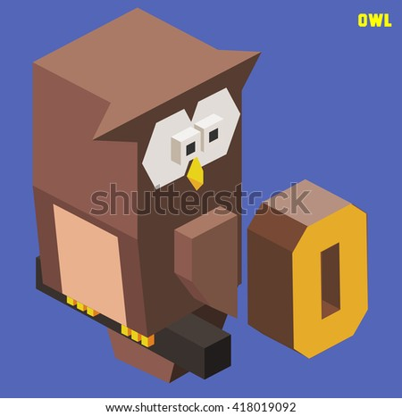 O for Owl, Animal Alphabet collection. vector illustration