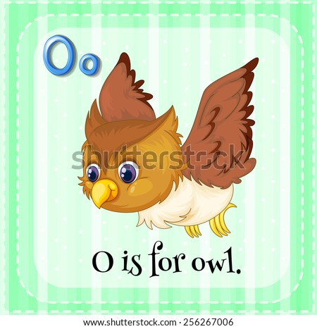 O is for owl - stock vector