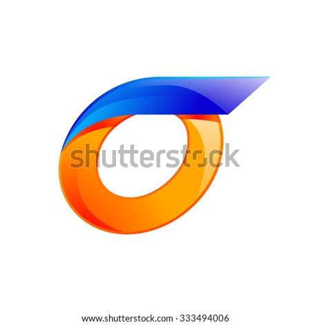 O letter blue and Orange logo design Fast speed design template elements for application. - stock vector