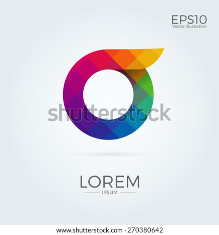 O Letter Logo Icon Mosaic Pattern Design template Element - stock vector