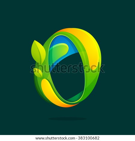 O letter with green leaves eco logo. Font style, vector design template elements for your ecology application or corporate identity. - stock vector