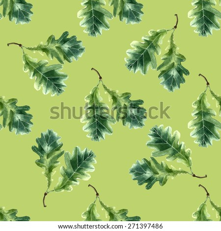 Oak leaf watercolor seamless pattern. Vector illustration. - stock vector