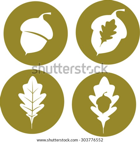 Oak leaves and acorn icons - stock vector