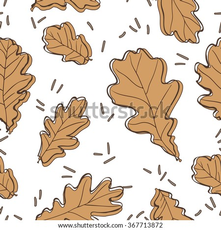 Oak leaves seamless pattern. Vector Illustration. - stock vector