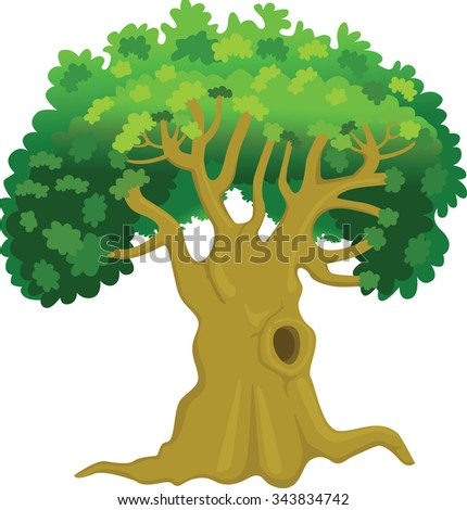 Oak Tree or Old tree with a huge hole in its trunk - Illustration - stock vector