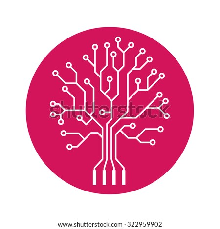 Oak tree stylized as an electronic circuit on purple circle - stock vector