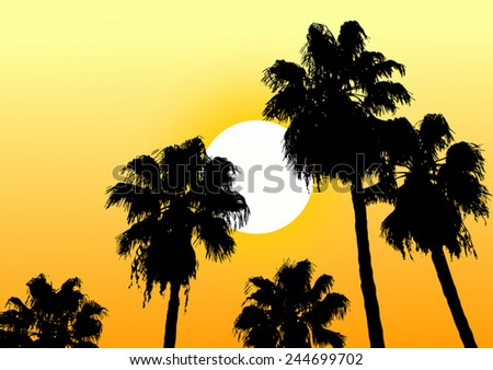 Oasis desert sun - stock vector