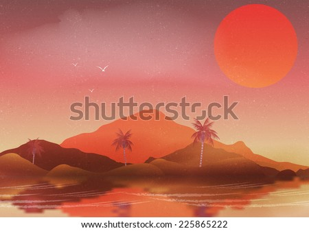 Oasis in a Hot Desert Landscape with Palm Trees and Reflection on Water - Vector Illustration - stock vector