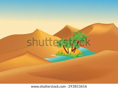 Oasis in the desert - stock vector