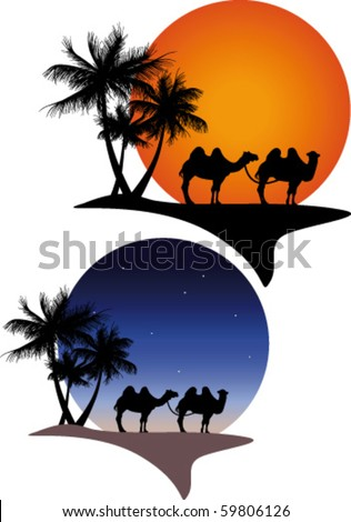 Oasis with camels night and day - stock vector