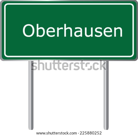 Oberhausen , Germany , road sign green vector illustration, road table - stock vector