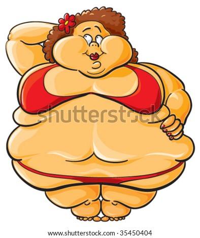 Chubby lady cartoon