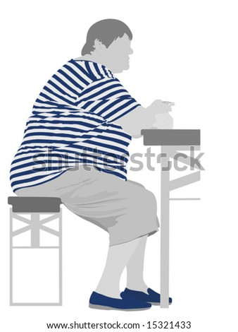 obese woman eating - stock vector