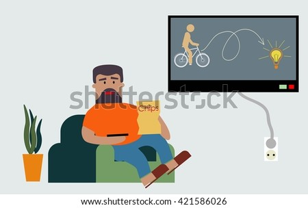 obesity caused by passive recreation in front of the TV and the food that contains a lot of fat - stock vector