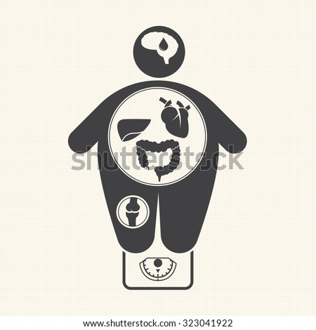 Obesity related diseases icons - stock vector