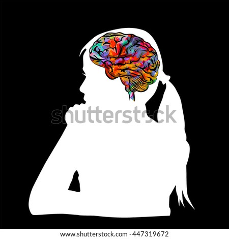 Object brain. The child thinks. Vector - stock vector