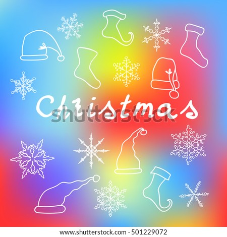 Objects and lettering for a Christmas card.  Blue winter background. Vector snowflakes, stockings, socks, caps Santa.