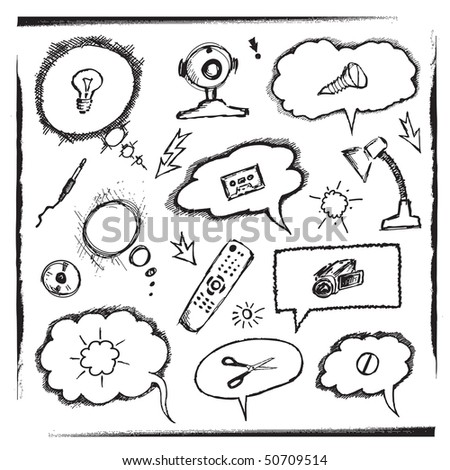 Objects And Thought Bubbles (vector). In the gallery also available XXL jpeg version of this image. - stock vector