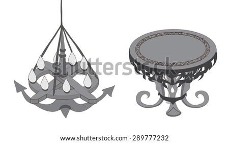 objects. antiques.black and white.vector - stock vector