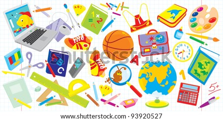 Objects for elementary school: laptop, basketball, textbooks, satchel, paints, globe and many other things for schoolchildren - stock vector