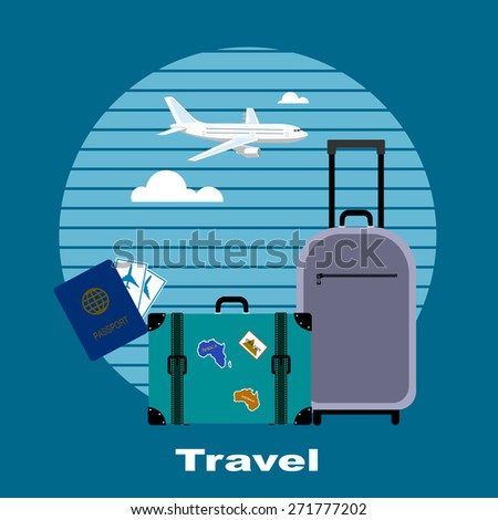 Objects of tourism and travelings, flat style. - stock vector
